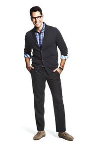 Tasso Elba does the graphic print shirt teamed with a sport coat and pants at Macy's.