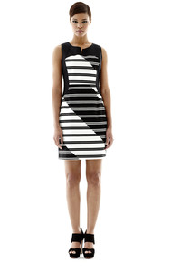 The shift dress gets retro flair this fall with graphic stripes. From Worthington at J.C. Penney.