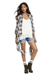 The oversized plaid shirt is a back-to-school style statement. Available at Macys.