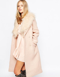 The pink coat is a big style statement in outerwear this year. Lost Ink pink wool coat with faux fur collar. Asos.com.