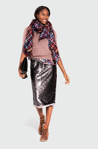Give holiday dressing a high five with a sequined skirt topped off with a cozy sweater. From the WhoWhatWear collection at Target. www.target.com.