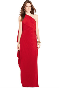 Go red and wear bold color head to toe. Garnet one-shouldered evening dress by Lauren Ralph Lauren at Macy's.