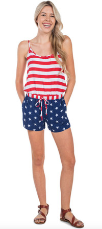 Celebrate summer style with a patriotic flag romper from Tipsy Elves.