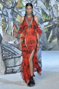 Spicy colors flavor the spring/summer 2019 season. Photo from Alexander McQueen's spring runway show. www.alexandermcqueen.com.