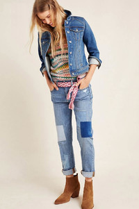 The patchwork boyfriend jean and denim jacket are two of fall's favorite denim trends. Shown: Pilcro jeans from Anthropologie.