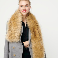 Use accessories to dress up holiday outfits. Faux fur stole from J.Crew.