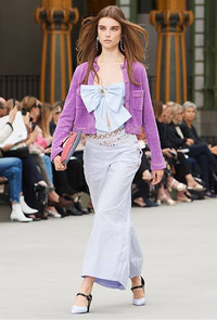 Catch a new vision of fashion trends for 2020: oversized jackets, flared pants and big bows shown in Chanel's latest resort collection at Neiman Marcus.