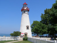Marblehead Lighthouse, built in 1821, is situated on Marblehead Peninsula near Sandusky, Ohio. Photo courtesy of Lake Erie Shores and Islands.