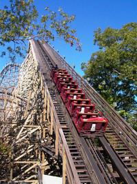 "The 2013 debut of ""Outlaw Run"" lured wood coaster aficionados to Silver Dollar City near Branson, Missouri, to take on its 169-foot drop. Photo courtesy of Athena Lucero."