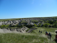 Hikers approach a canyon in the Oglala National Grasslands in the Nebraska Panhandle. Photo courtesy of Steve Bergsman.