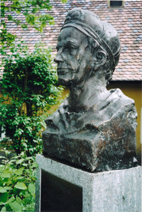 A bust of Jakob Fugger, founder of the Fuggerei nearly 500 years ago, celebrates his famous legacy of the world's oldest housing settlement. Photo courtesy of Sharon Whitley Larsen.