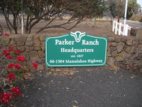 This colorful sign welcomes visitors to the Parker Ranch in Waimea, Hawaii. Photo courtesy of Patricia Arrigoni.