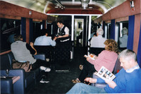 Passengers aboard the Caledonian Sleeper between Scotland and England enjoy drinks and food in the Lounge Car. Photo courtesy of Sharon Whitley Larsen.