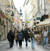 Salzburg, Austria, has many pedestrian-friendly streets on which to walk and explore. Photo courtesy of John Blanchette.