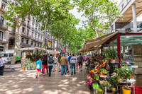 .The Rambles area of Barcelona, Spain, is lined with cafes, flower stalls, newspaper kiosks, bird shops and vendors selling a variety of other goods. Photo courtesy of Dreamstime.com/Pere Sanz.