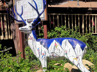 ". ""Rocky,"" painted by local artist and mountaineer Neil Jenkins, is among 22 painted deer in the Idyllwild Deer Sightings, a public art installation of the Art Alliance of Idyllwild. Photo courtesy of Athena Lucero."