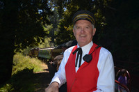 Conductor Glen Ford takes visitors through the meadows and trees of coastal Mendocino County aboard the Historic Skunk Train. Photo courtesy of Donna Barnett.