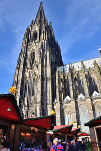 The amazing Cologne Cathedral, one of the most visited landmarks in Germany, towers over a Christmas market. Photo courtesy of Priscilla Lister.