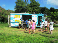 Fast food in Vieques, Puerto Rico, means tortillas, empanadas and other local fare available from Sol Food, a permanently parked ramshackle truck. Photo courtesy of Victor Block.