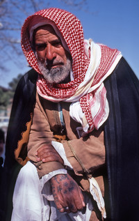A traditionally dressed Jordanian shows his tattoos. Photo courtesy of www.hansentravel.org.