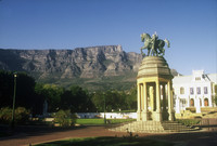 A monument is overshadowed by Table Mountain in Cape Town, South Africa. Photo courtesy of Halina Kubalski.
