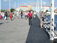 The Punda and Otrabanda neighborhoods of Willemstad, Curacao, are linked by the Queen Emma Bridge. Photo courtesy of Victor Block.