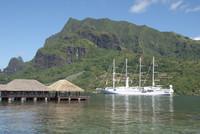 The Wind Spirit sailing yacht anchors in Moorea in the French Polynesian Society Islands. Photo courtesy of Halina Kubalski.