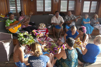 Polynesian musicians and artists share their talents with Wind Spirit guests while under sail. Photo courtesy of Halina Kubalski.