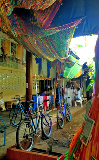 Hammock-weavers work at their craft in Granada, Nicaragua. Photo courtesy of Jim Farber.