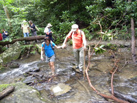 Guide Jamie Matzko helps a hiker cross a stream in Tennessee's Great Smoky Mountains National Park. Photo courtesy of Bill Neely.