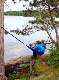 A good place to get away from it all is a campsite on an island in the Boundary Waters between Minnesota and Canada. Photo courtesy of www.hansentravel.org.