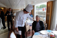 Executive Chef Daniel Papadimas chats with guests on the Viking Forseti. Photo courtesy of Halina Kubalski.
