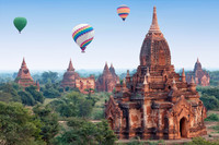 A hot-air balloon ride over a plain near the city of Bagan in Myanmar reveals many ancient Buddhist pagodas. Photo courtesy of Dreamstimes.