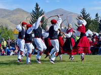 Oinkari Basque Dancers do a hoop dance at the Trailing of the Sheep Festival in Ketchum, Idaho. Photo courtesy of Carol Waller. Photo courtesy of Carol Waller.