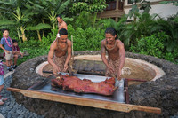 . Maui locals prepare a pig for the Te Au Moana Luau in Wailea. Photo courtesy of Margot Black.