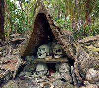 Skull Island in the Solomon Islands is a sacred resting place for skulls of chiefs and vanquished warriors. Photo courtesy of Doug Hansen.