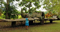 A visitor at the Vilu War Museum in the Solomon Islands explores artifacts from World War II. Photo courtesy of Doug Hansen.
