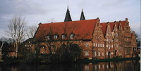 The 16th-to-18th-century Salt Houses on the Trave River in Lubeck, Germany, are a landmark of this area. Photo courtesy of Sharon Whitley Larsen.