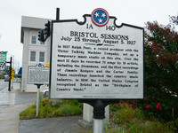 A historical marker in Bristol, Tennessee, honors Ralph Peer and the Bristol Sessions, which marked the beginning of country music. Photo courtesy of Steve Bergsman.