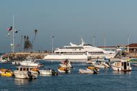 The Catalina Express lies moored in Avalon Harbor on California's Catalina Island. Photo courtesy of Kitty Morse.