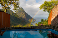 This view from the Ladera Resort in St. Lucia is enhanced by a rainbow. Photo courtesy of Doug Hansen.