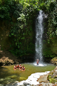Hikers enjoy a swim in the 50-foot Toraille Falls in St. Lucia. Photo courtesy of Doug Hansen.