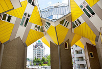 Architect Piet Blom transformed city living with the Cube Houses In Rotterdam, Netherlands. Photo courtesy of Iris van den Broek.