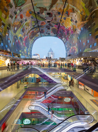 The colorful Markthal in Rotterdam is the Netherlands' largest market place and the first to be covered. Photo courtesy of Kunsthal by Ossip van Duivenbode.