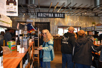 Customers at the Queen Creek Olive Mill near Mesa, Arizona, browse and taste food selections such as vinegars, olives, sauces, beans and honey. Photo courtesy of Don Heimburger.