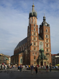 St. Mary's Basilica soars above Rynek Glowny, one of the most important squares in Krakow, Poland. Photo courtesy of Barbara Selwitz.