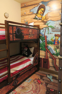 Themed rooms at the hotel at Legoland in Carlsbad, California, such as this one designed as a pirate ship, allow children to live their fantasies. Photo courtesy of Margot Black.
