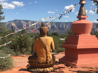 The Amitabha Stupa and Peace Park is at the base of majestic Thunder Mountain in Sedona, Arizona. Photo courtesy of Nicola Bridges.