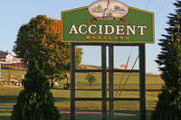 A sign welcomes visitors to Accident, Maryland. Photo courtesy of Victor Block.