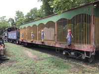 Children play on circus train cars in Eureka Springs, Arkansas. Photo courtesy of Philip Courter.
